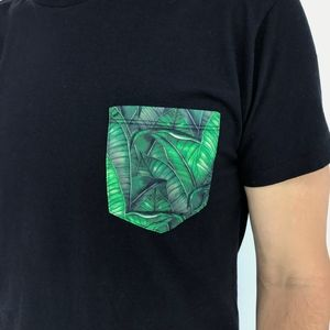 Black T-Shirt With Tropical Pocket From Brazil